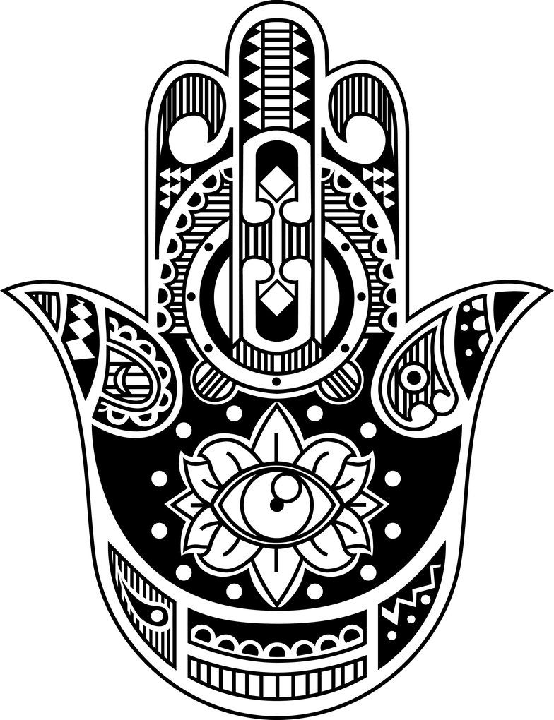 Jewish mandala coloring pages - Hamsa Hand Illustration