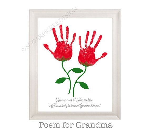 Gift For Grandma Grandmas Birthday Mothers Day Handprint Kids To A Han