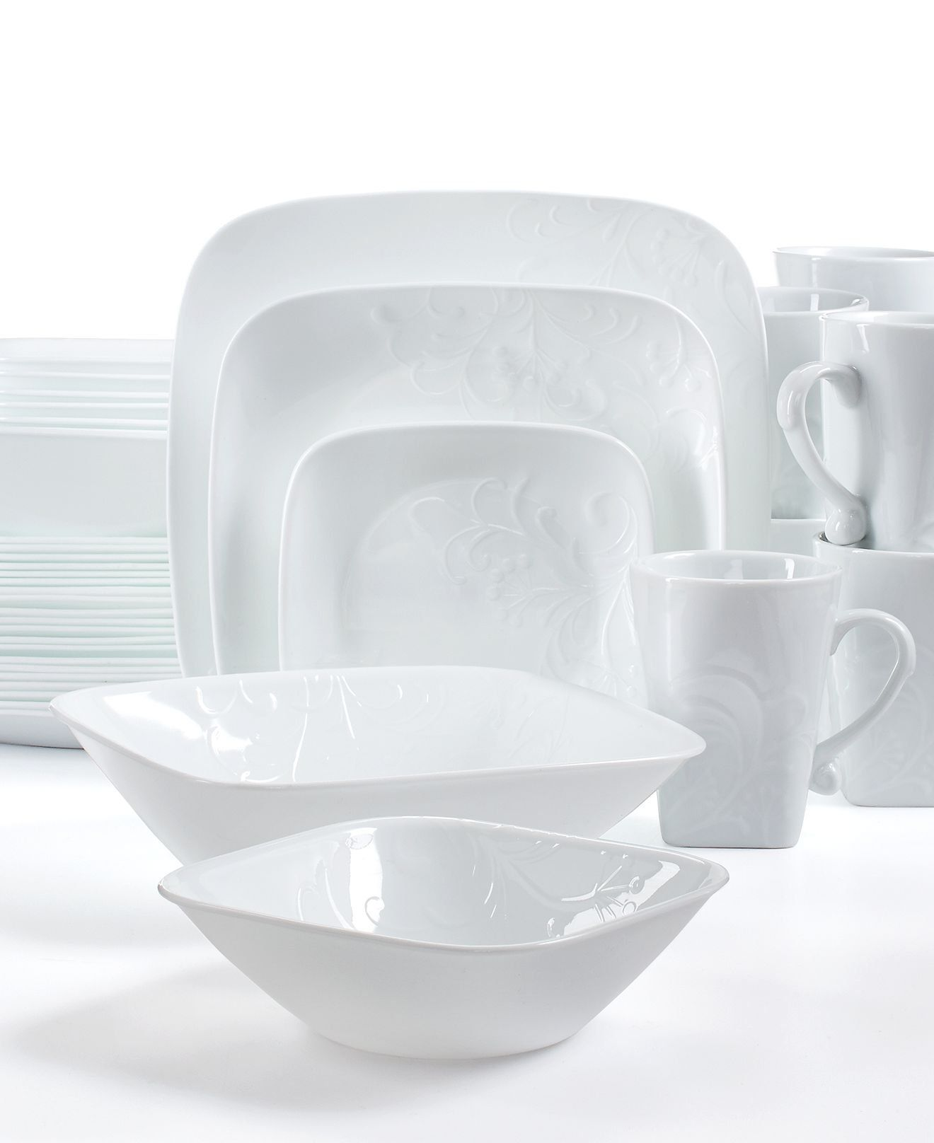 White Dinnerware 42 Piece Set Including Serving Bowls Plates Cups Dishes Corelle Boutique Cherish Embossed Square Stackable Corelle Dinnerware Sets Dinnerware