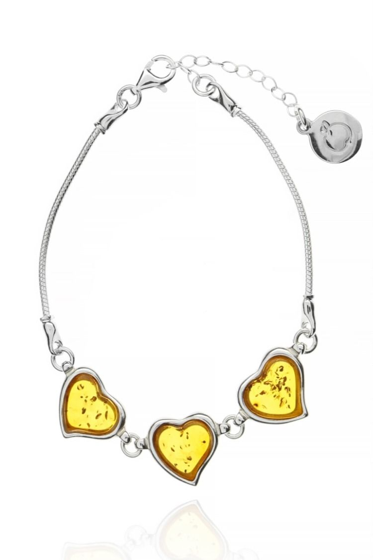 Bransoletka Bursztynowe Serca Srebro925 Na Prezent Jewelry Bracelets Pendant Necklace