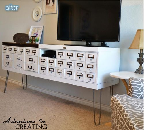 TV table made from found safety deposit boxes. Very cool.   Safety and Pins