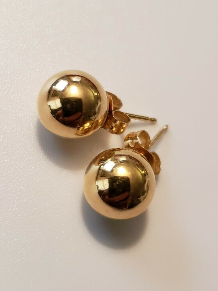1a26ab989 MB Signed 14k Yellow Gold 8mm Round Hollow Ball Stud Earrings .7 grams #MB  #Stud