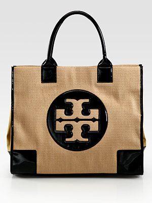 cc1923a256e1 Tory Burch Ella Straw   Patent Leather Tote Bag