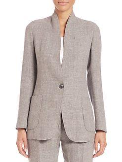 Akris - Cannes Double-Face Linen/Wool Crepe Jacket