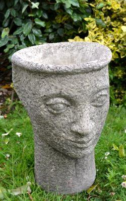 Head Vase Stone Garden Planter