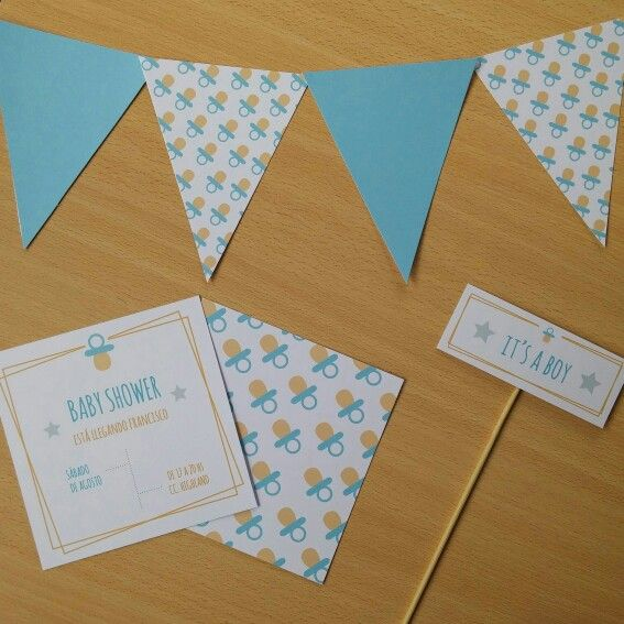 Kit Baby Shower para Imprimir - Incluye Banderines + Invitación + Props Decorativos