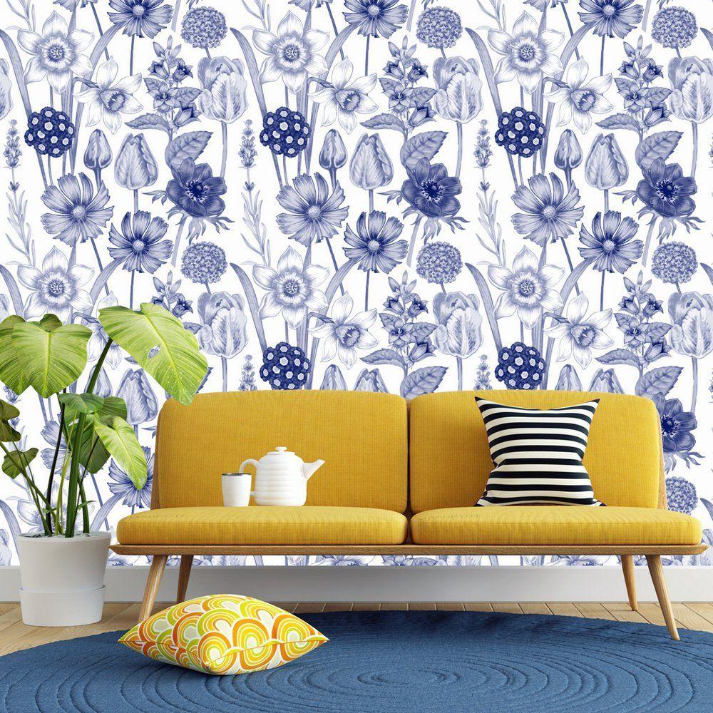 Buy Blue And White Flower Wallpaper ...