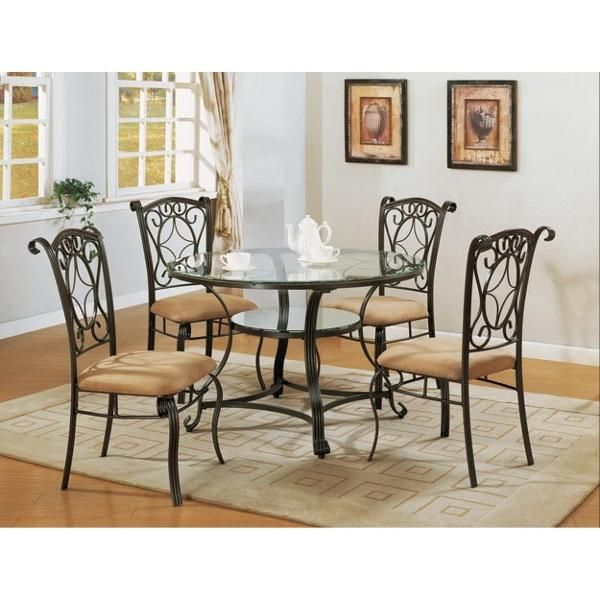 Jessica 5 Piece Dining Set Round Dining Room Sets Metal Dining Room Chairs Dining Table Setting