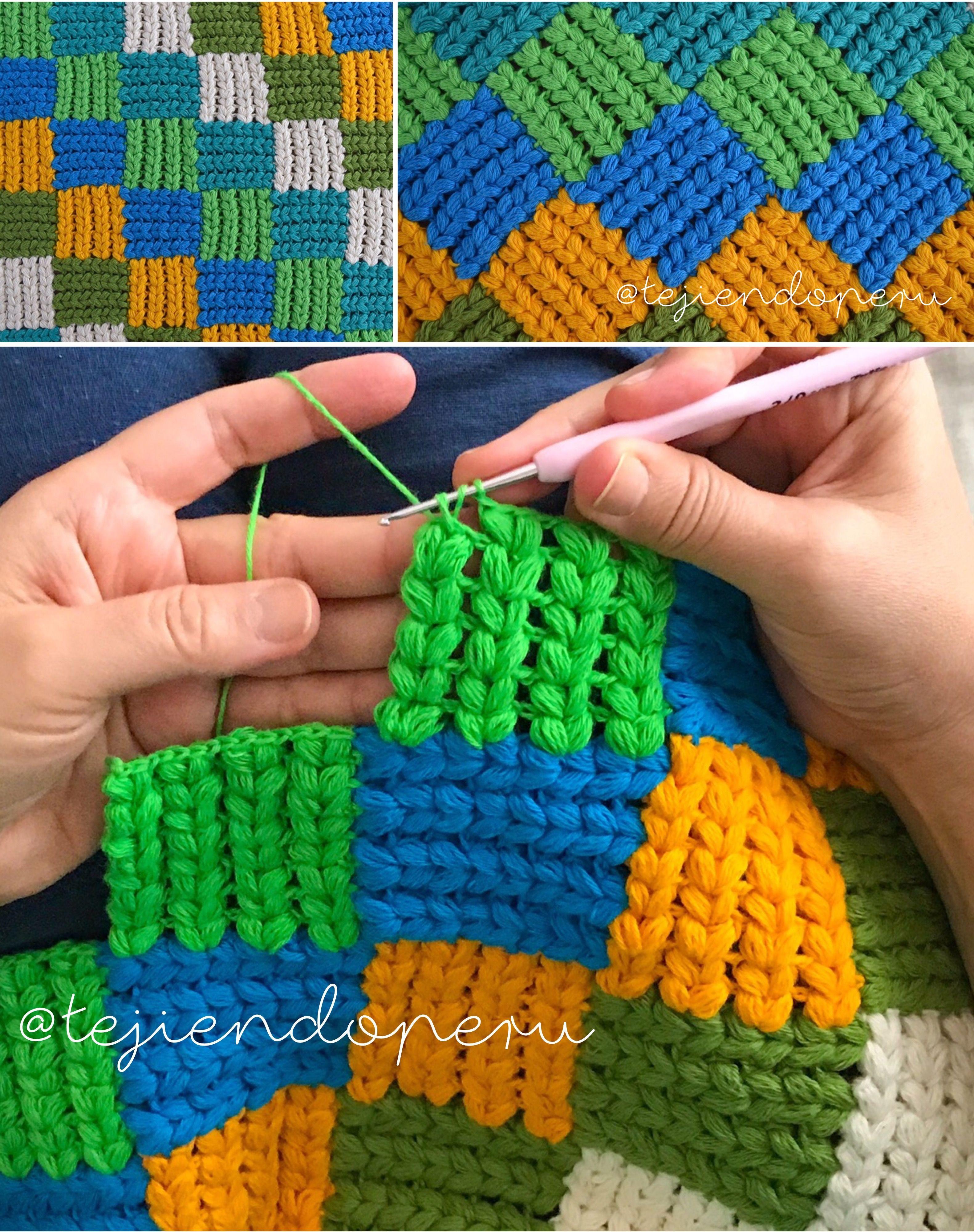 Cómo tejer el punto entrelac con trenzas gorditas a crochet! Video ...