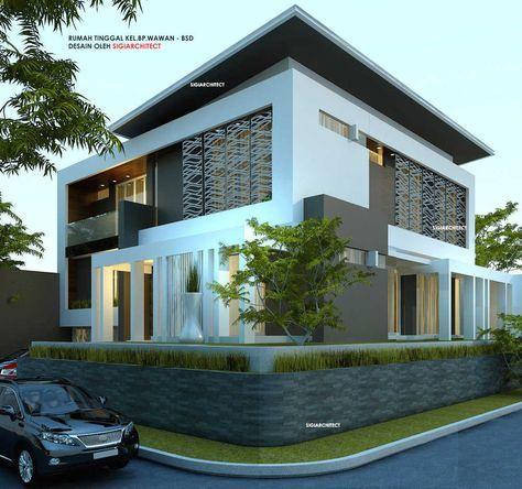 Desain Rumah Pojok dengan konsep Box House modern minimalis rumah tinggal semi basement diatas lahan & Desain Rumah Pojok dengan konsep Box House modern minimalis rumah ...