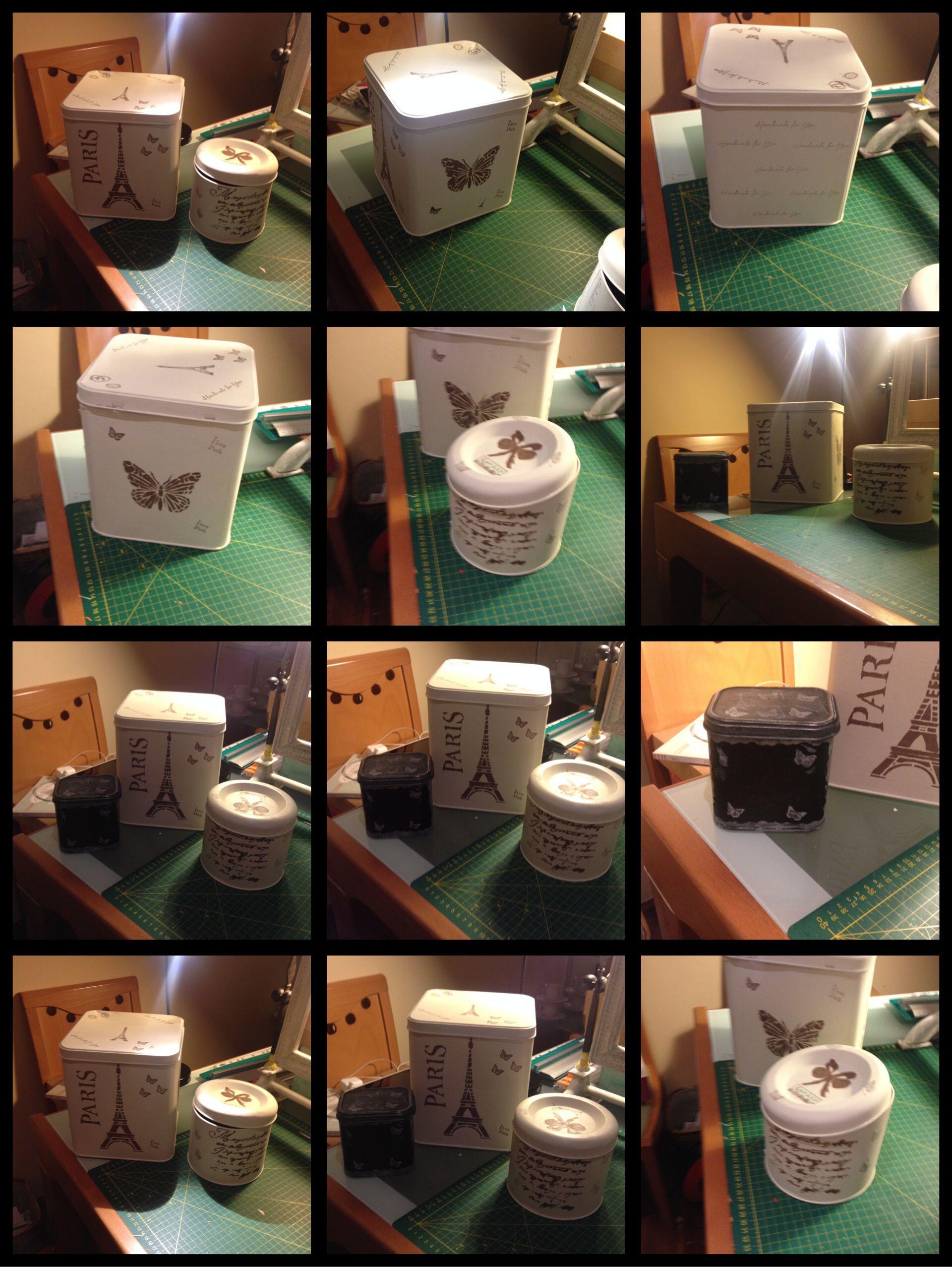 Cajas De Hojalata Pintadas Con Pintura De Tiza Autentico Paint  # Muebles Hojalata