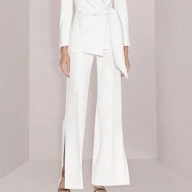 White belted 2 piece pants suits, embellished belted pants and blazer suits, slit pants and blazer suit set, white wedding suit