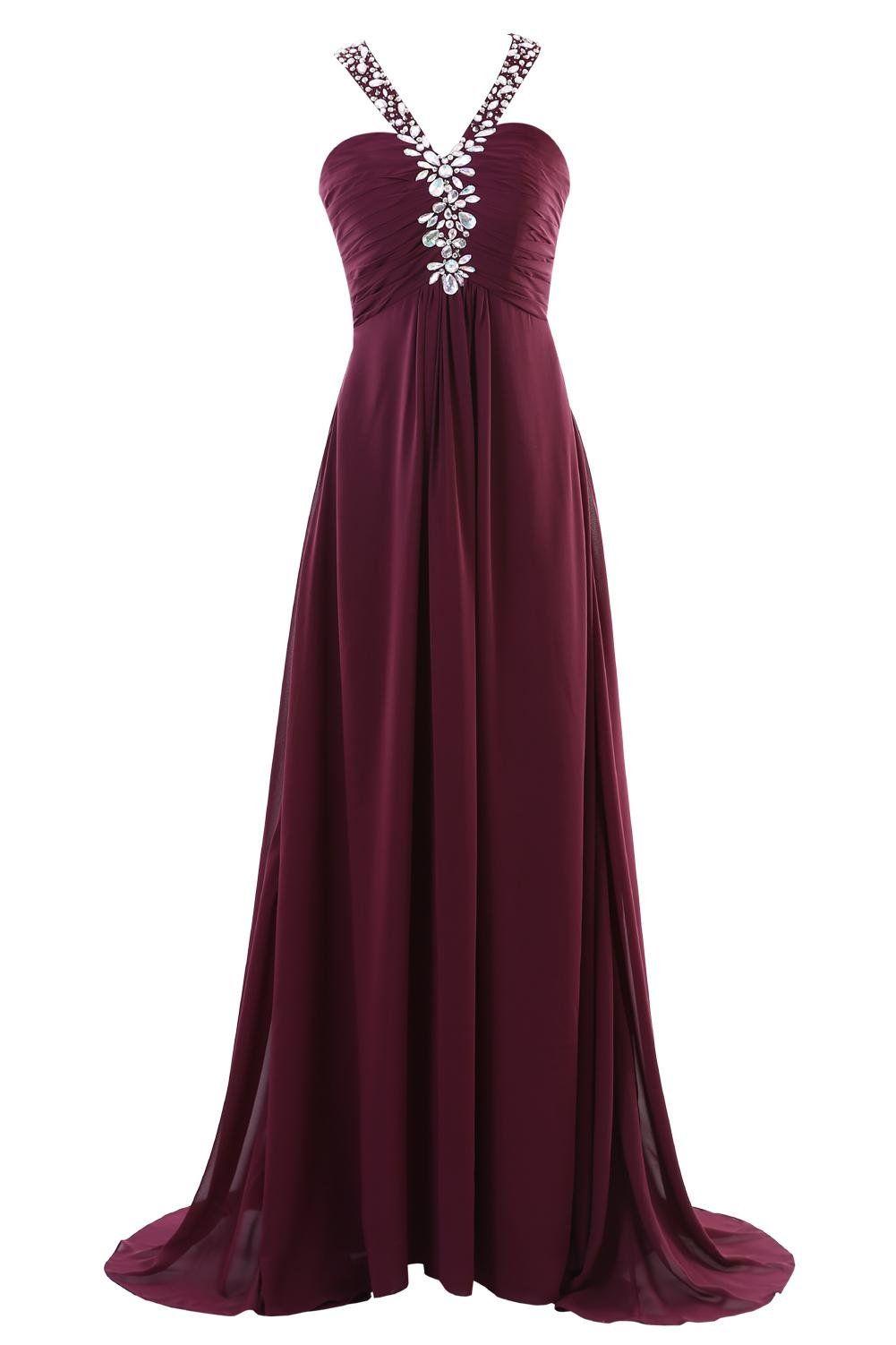 YiYaDawn Langes Elegantes Abendkleid Partykleid für Damen Größe 46 ...
