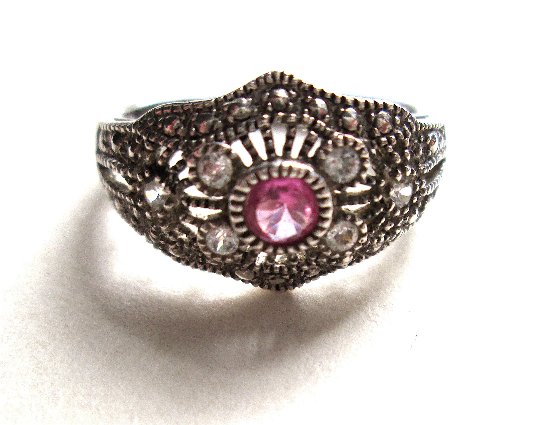 Vintage Bracelet with Amethyst /& faux Marcasites marked 925