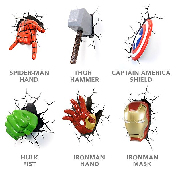 Dulux Marvel Avengers Bedroom In A Box Officially Awesome: 3D Deco Superhero Wall Lights