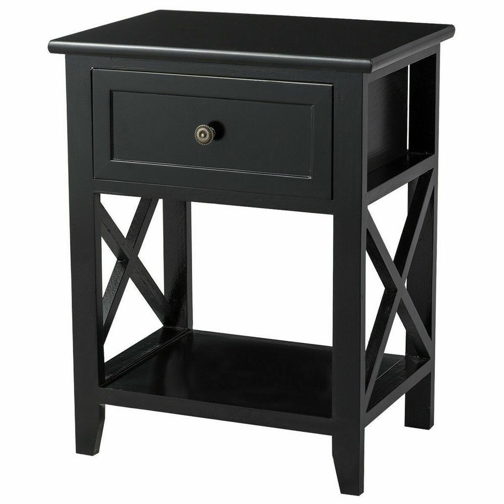Best Costway 1 Drawer Black End Bedside Table Nightstand Drawer 640 x 480