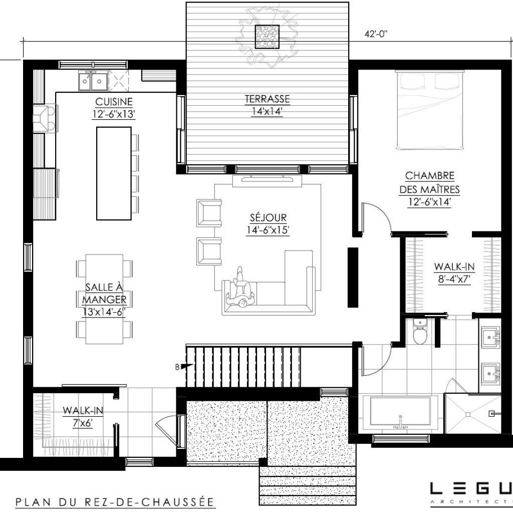 Plan de Maison Moderne Ë_118 en 2020 | Plan maison moderne, Plan maison et Maison moderne