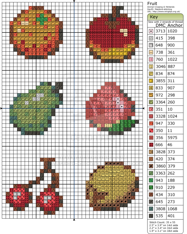 Animal Crossing Fruit By Makibird Stitching Deviantart Com On