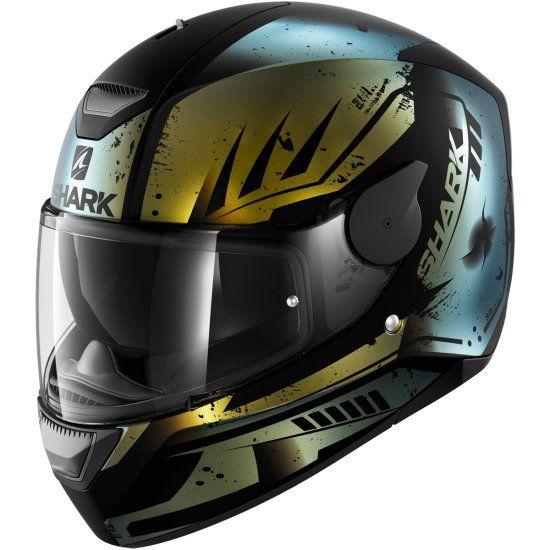 Shark D-Skwal Dharkov Helmet Matte Black / Green Glitter. Full face helmet of aggressive design