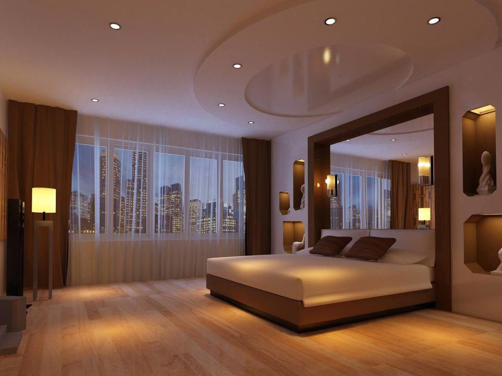 Minimalist Bedroom Design For Adults With Less Furniture And Dim Light With City View O False Ceiling Bedroom False Ceiling Living Room Bedroom Lighting Design