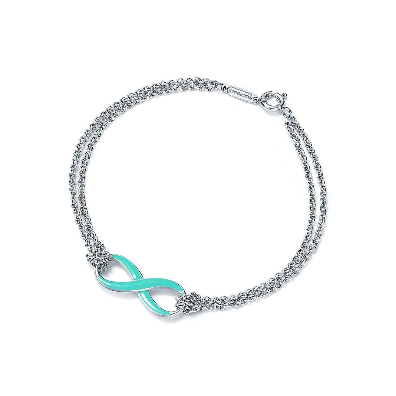 9b286a55d Tiffany Infinity bracelet in silver with Tiffany Blue® enamel finish,  medium.