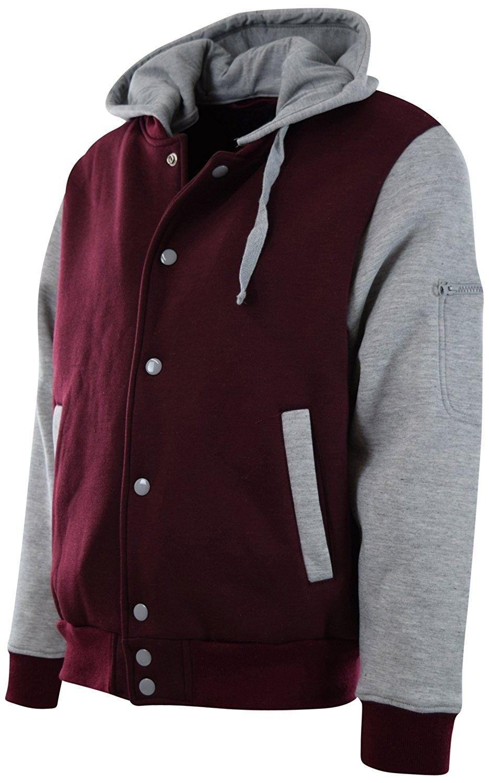 Men's Clothing, Jackets & Coats, Lightweight Jackets, ChoiceApparel Mens Baseball Varsity Jacket With Detachable Hoodie - 901-burgundy/Grey - C8180MXSLCT   #Clothing  #men #fashion #Jackets #Coats #style #outfits  #Lightweight Jackets #varsityjacketoutfit