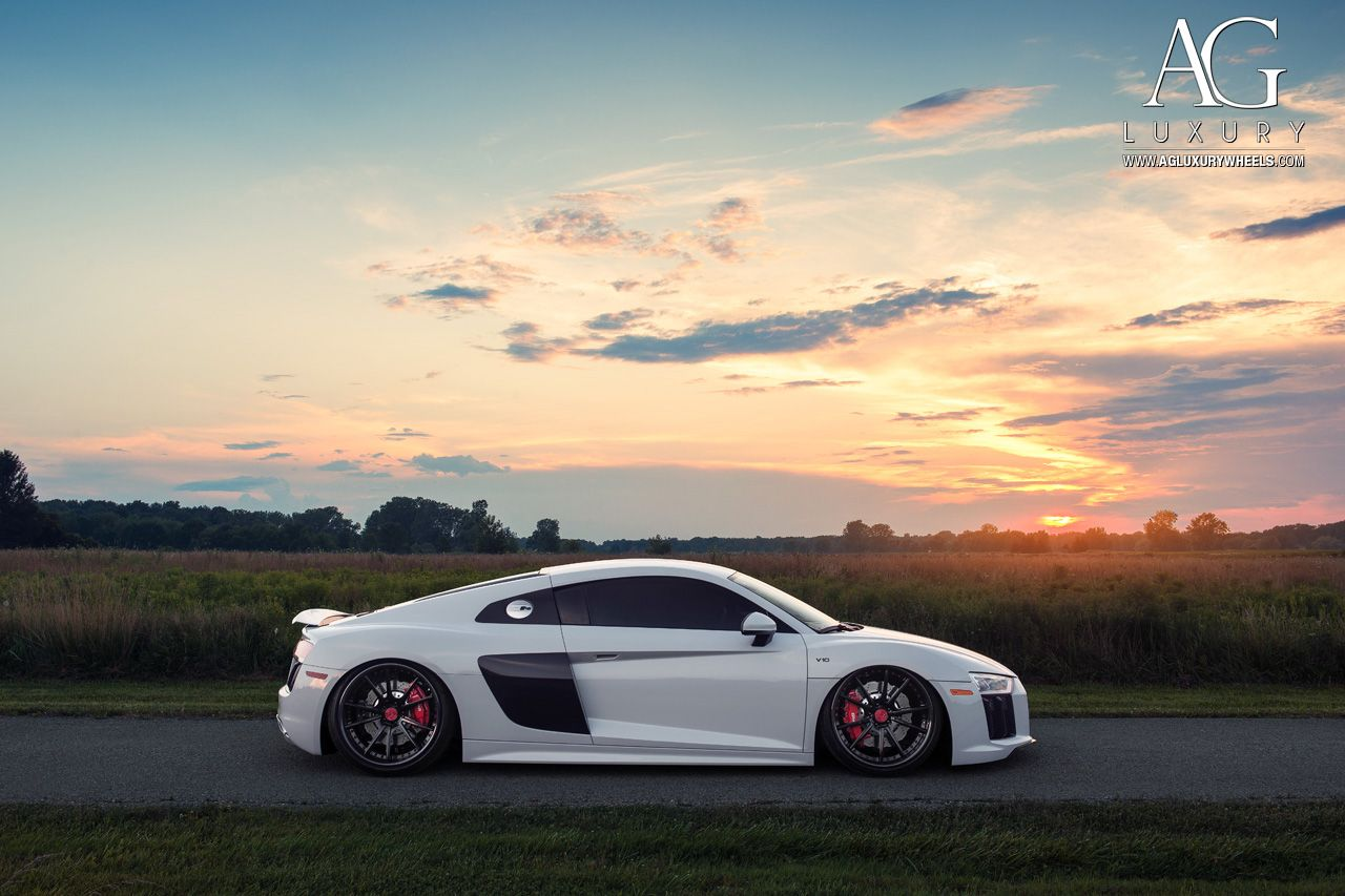 white audi r8 forged wheels air suspension staggered | germany cars ...