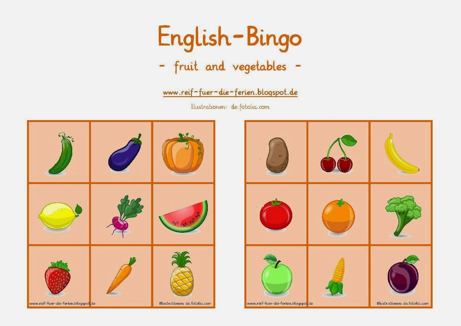 englisch bingo fruit and vegetables englisch pinterest englisch schule und obst. Black Bedroom Furniture Sets. Home Design Ideas