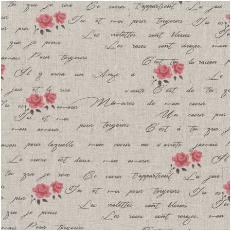 Collection Shabby Chic Ecritures Petites roses blanches Tissu Lin 24x70cm