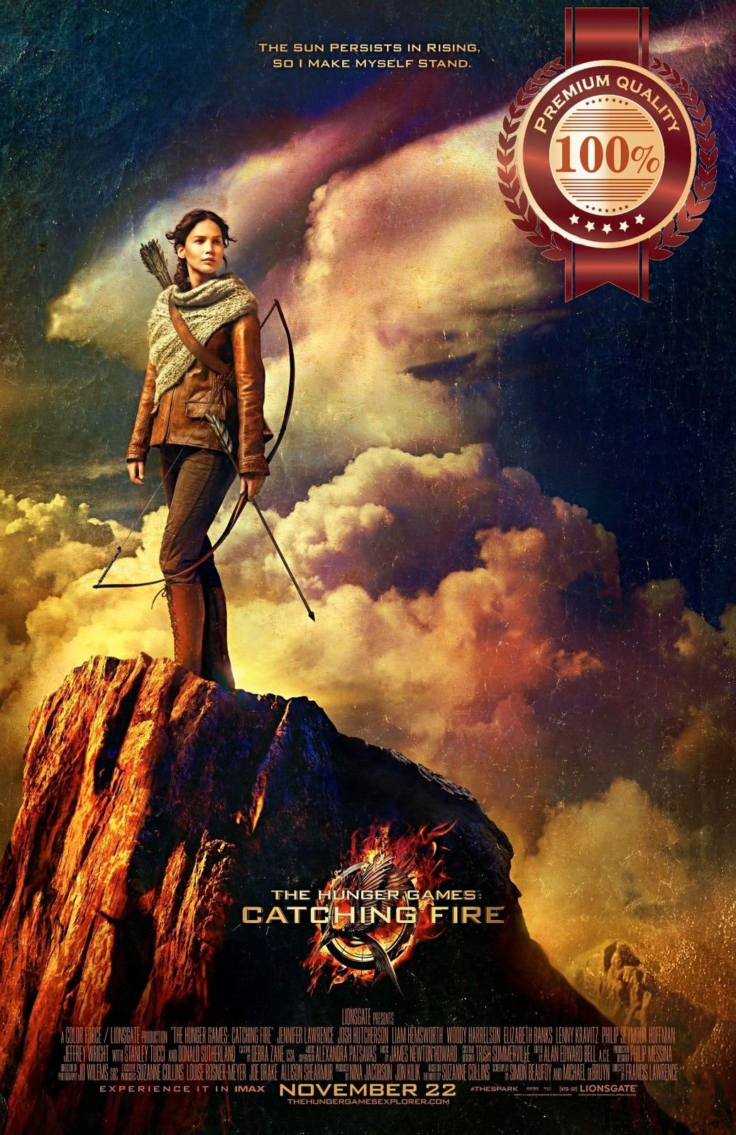 11 95 Aud Catching Fire Katniss Cliff Hunger Games Movie Wall Art