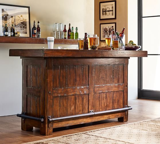 40 Cool Rustic Bar Design: Rustic Ultimate Bar, Large, Rustic Mahogany Finish