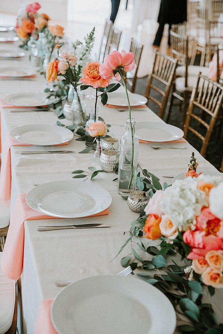 Travis and Alicia's Bright Coral Wedding with a Big Pink Balloon by Ashley Tiedgen Photography - Boho Wedding Blog