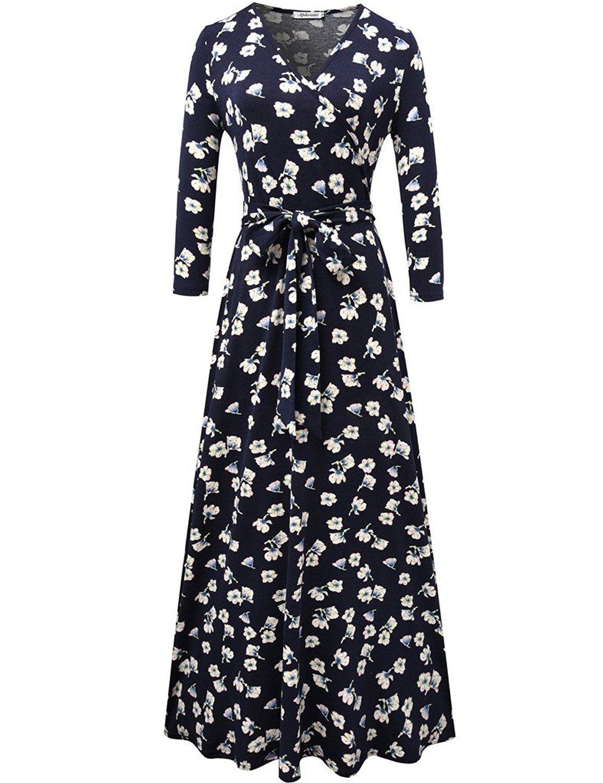 Aphratti Women 39 S 3 X2f 4 Sleeve Vintage Wrap Long Maxi Dress With Belt At Amazon Women S Clothing Store Long Maxi Dress Maxi Dress With Sleeves Dresses [ 1500 x 1154 Pixel ]