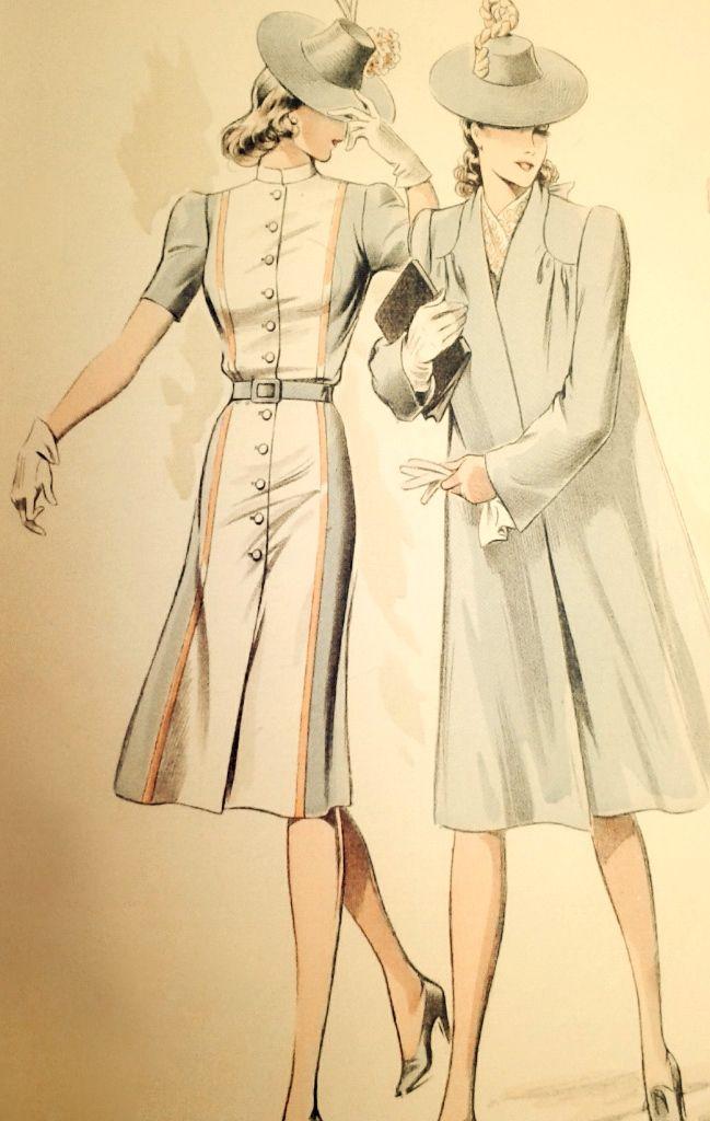 Pin von 1930s/1940s Women\'s Fashion auf 1940s Coats and Capes ...