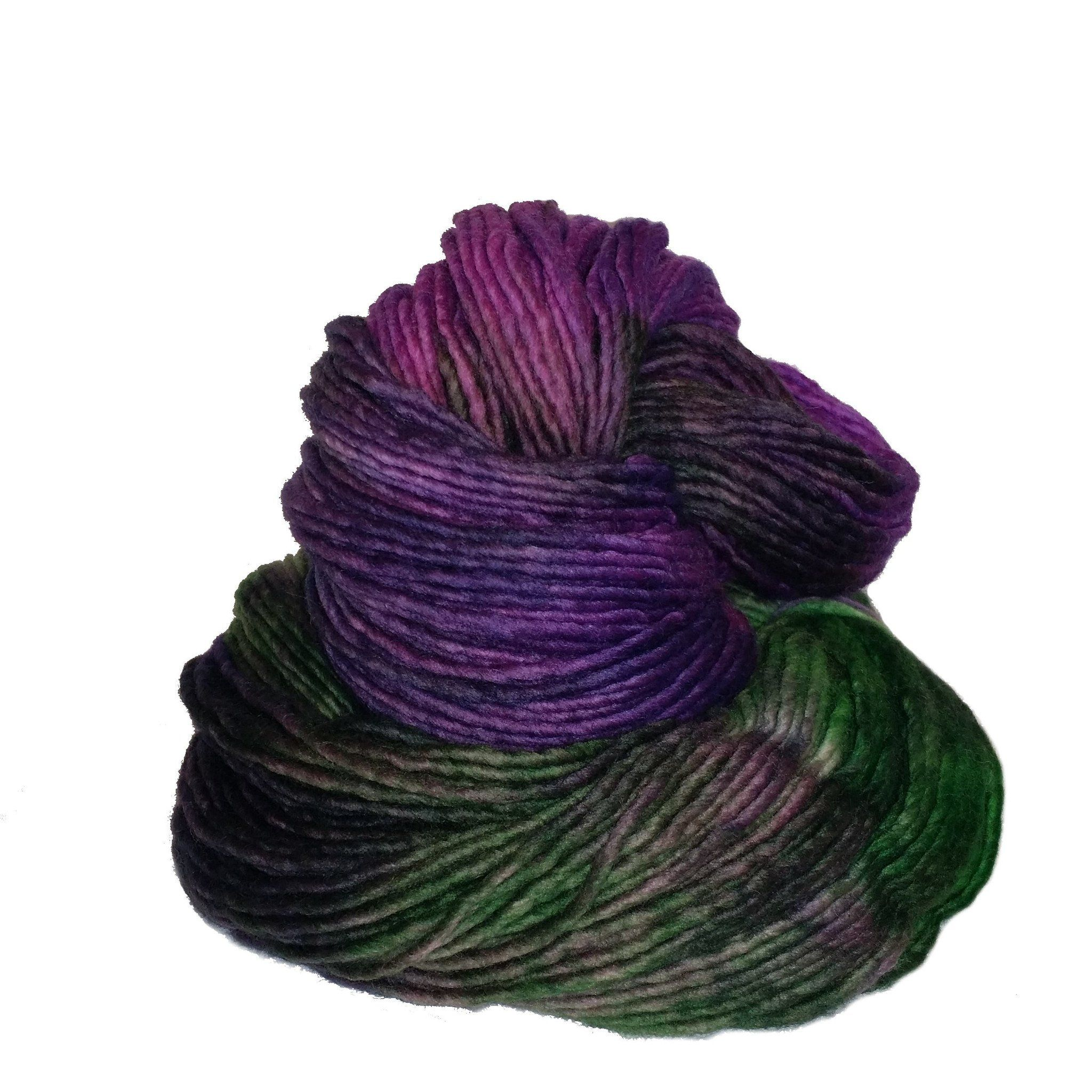 This super soft single ply 100% merino is produced in Uruguay by a woman's cooperative, Each hand-dyed skein is signed by the artist. Worsted weight with a generous 219 yards per skein.