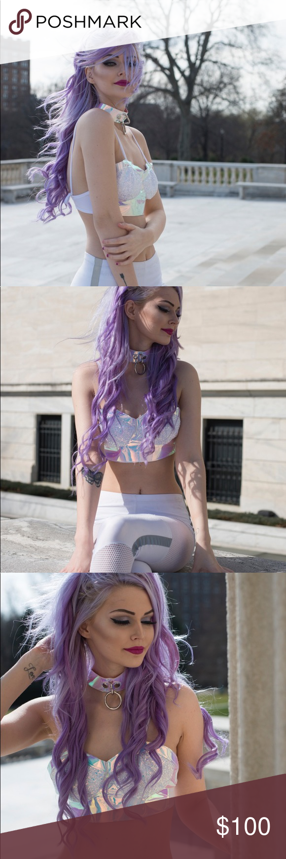Hologram dollskill esqape top RARE Brand new once only once for a shoot YRU Tops Crop Tops