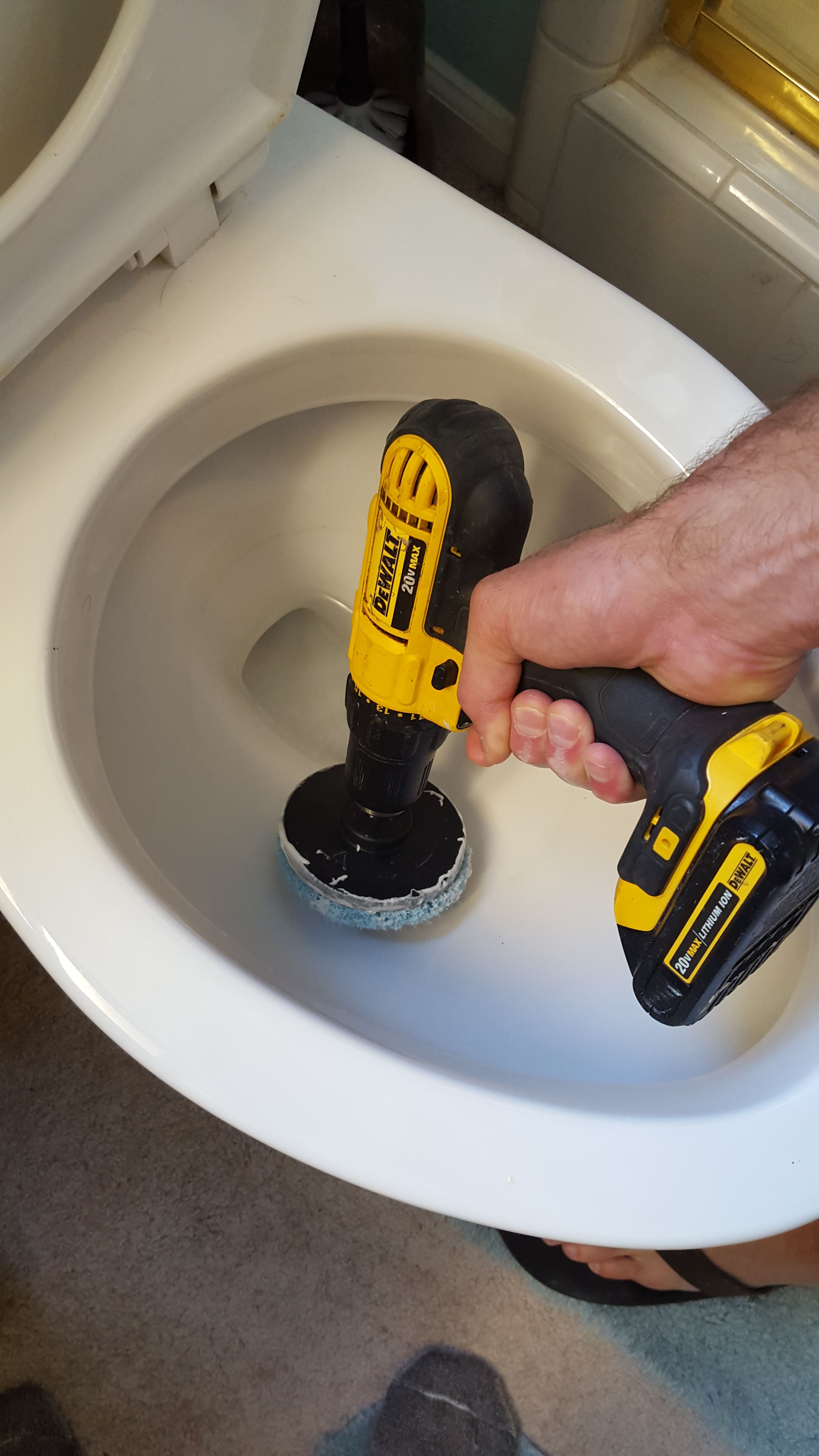 Fast way to clean toilets drill brush attachment toilet