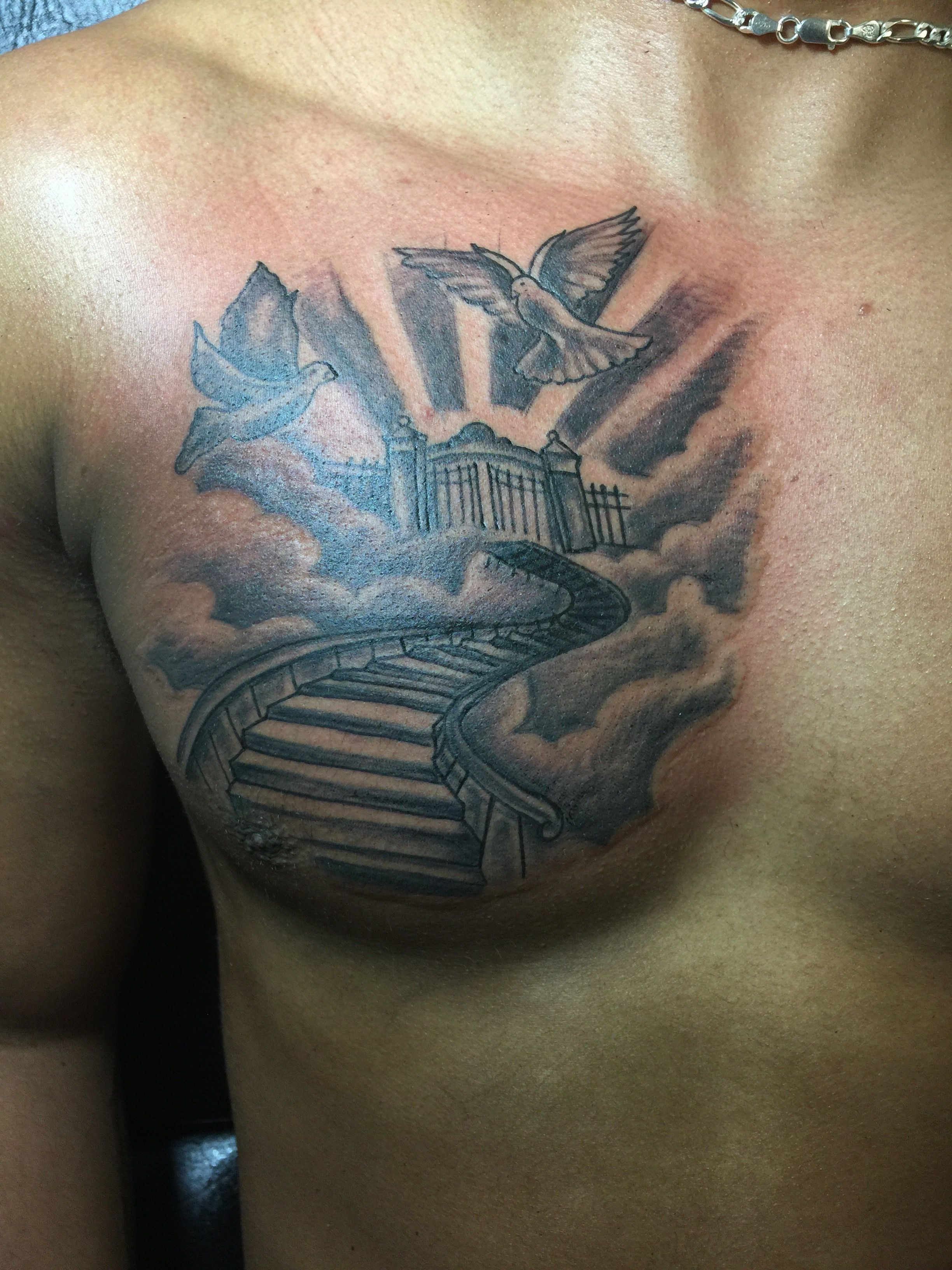 Stairway To Heaven Chest Tattoo Chest Tattoo Men Cool Chest Tattoos Tattoos For Guys
