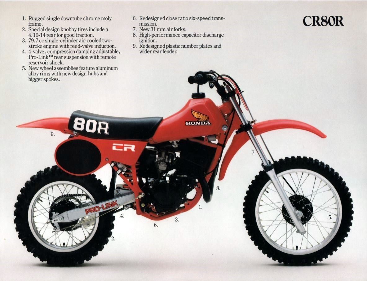 1980 Honda Cr80r Brochure Motocross Bikes Dirtbikes Honda Bikes