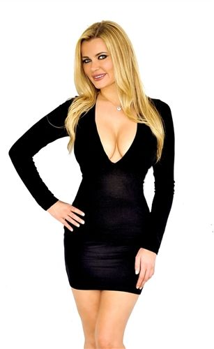 af413ac496 sexy black long sleeved fitted cleavage dress