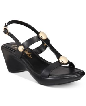 Callisto Toggle Wedge Sandals Black 6.5M | Products | Flip