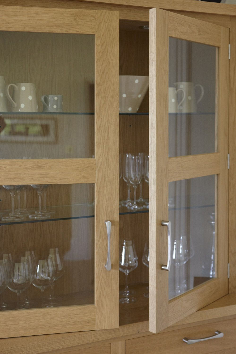 Glass Kitchen Cupboard Units Reveal Glass Shelving For Displaying Glassware  And Crockery. Designed By Giles