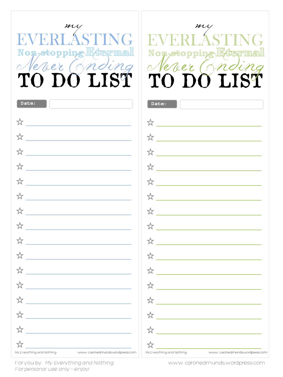 Free printable – To do lists | Free printable, Free printables and ...