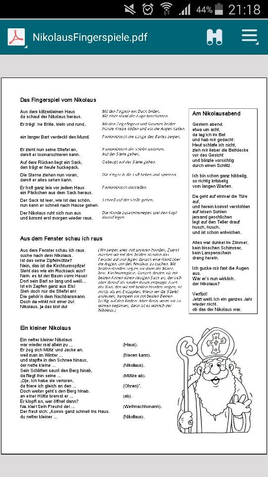Fingerspiele zum Nikolaus☆ | kiga - lieder | Pinterest ...
