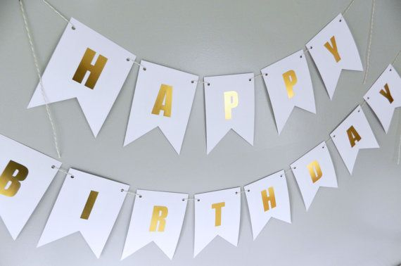 Gold Foil Banner Happy Birthday Garland Holiday Decor Special Occasion Art Personalized