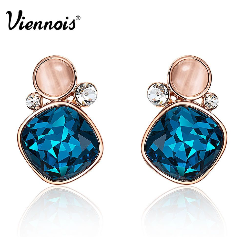 Viennois Fashion 18K Rose Gold Plate GP Square Blue Cat Eye Opal Stone Square Stud Earrings girl new gift