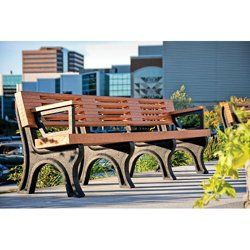 Outdoor Bench with Backrest and Arms - 8 ft // Eco-friendly, Green park bench for office courtyard