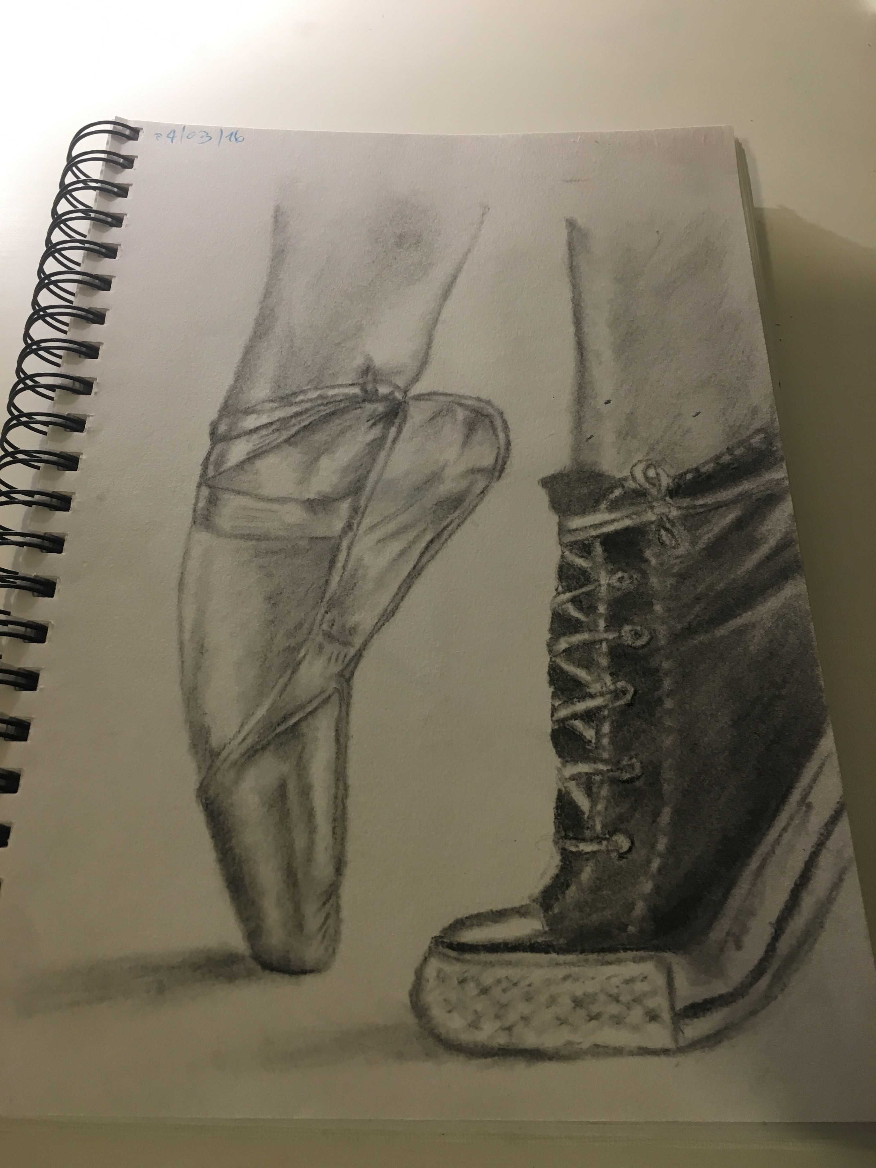 charcoal drawing of pointe shoes and converse art