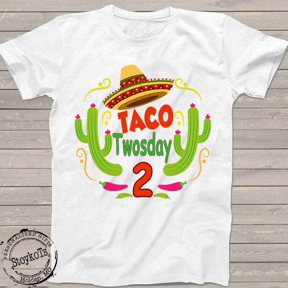 9f31a532 2nd Birthday shirt Taco TWOsday boys, girls Mexican fiesta party tshirt  Personalized tacos shirts funny one of kind Cinco de Mayo for kids