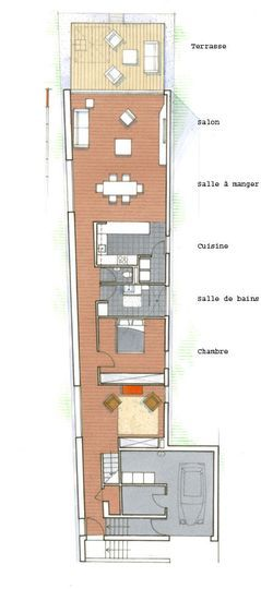 Plan du0027une maison sur une terrain en longueur Spaces and House - cout d une construction maison